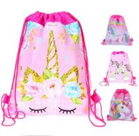 hediye çantası baskısı toptan satış-Karikatür Unicorn Baskı İpli Çanta Parti Favor Çocuklar Sırt Çantası Cadılar Bayramı Noel Çocuklar için Omuz Çantaları Doğum Günü Kese Hediye Sıcak