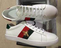 tops de couro branco venda por atacado-Qualidade superior abelha new designer shoes tigre branco cobra dragão ace bordado das mulheres dos homens de couro genuíno designer de tênis sapatilhas sapatos casuais