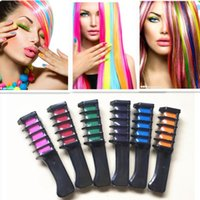 Wholesale hair dye brushes resale online - 6 Colors Temporary Hair combs Chalk Dye Powder With Comb Salon Hair Mascara Crayons DIY Hair Care Styling LX7470