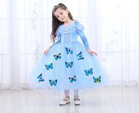 4t halloween kostüme großhandel-Halloween Kinderkleidung Cinderella Langarm Prinzessin Kleid Mädchen Herbst Ice Romance Performance Kostüm Kleid