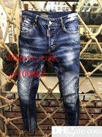 ingrosso jean stile sottile-Jeans moda uomo Jeans slim fit strappati Uomini pantaloni casual denim uomo afflitto Distrutto Jeans lavati 6 colori
