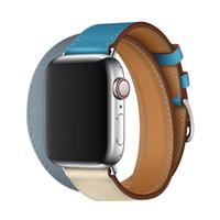 pulseira de couro dupla banda venda por atacado-Nova dupla faixa de loop para apple watch bandas 38mm 42mm pulseira de couro genuíno para a série iwatch 4 3 2 1 pulseira pulseira de dois tons