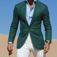 темно-зеленый пиджак оптовых-A dark green men's suit (coat + jacket + pants) for men's casual slim wedding dress fashion dress