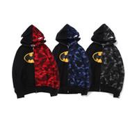 batman unterschrieben großhandel-2019 New Style Mens Designer Hoodie Manway Mitunterzeichnete Batman Patchwork Camouflage Full Zip Hoodie Aape Luxus Logo Druck Hai Hoodie