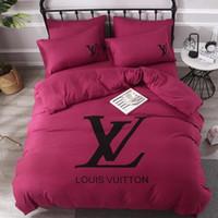 3d yorgan takımları toptan satış-Tasarımcı Kraliçe Yatak Takımları Yüksek Kaliteli Yıkanmış Pamuk Yatak Örtüsü Yetişkin 4 ADET Lüks Yatak Yorgan Setleri