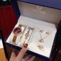 Wholesale crystal bracelet earring watch resale online - Designer Watch Set Swan Jewelry Set Swan Watch Pearl Bracelet Necklace Earrings Ring Luxury Fashion Accessories Counter Box