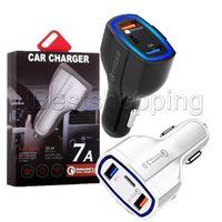 tipos de bancos de energia venda por atacado-35W 7A 3 portas Car Charger Tipo C e USB Charger QC 3.0 Com Quick Charge 3.0 Tecnologia para o telefone móvel GPS Power Bank Tablet PC