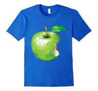 ingrosso mela mordicata-maglietta della maglietta del progettista degli uomini Maglietta Hipster freddo O Neck Tops Maglietta poligonale verde mela di Apple Immagini interessanti
