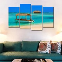 Wholesale mirrored panels for wall online - Art Poster HD Home Decor Wall Modular Pieces Boat Sea Landscape Painting Frame Picture Print On Canvas For Living Room