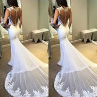 Wholesale attach dress for sale - Group buy 2019 Elegant Mermaid Wedding Dress Plunging Neck Sleeveless Lace Appliques Embroidery Sheer Back Attached Train Sexy Bridal Gowns