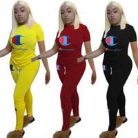 traje de spandex pieza de las mujeres al por mayor-Campeón para mujer chándales trajes de manga corta conjunto de 2 piezas diseñador ropa de mujer jersey de moda + pantalones trajes traje de impresión de la letra klw1222