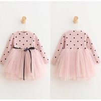 elbise polka pembe tutu toptan satış-Çiçek Kız Bebek Çocuk Giysileri Uzun Kollu Polka Dot Parti Prenses Tutu Elbise pembe