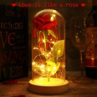 Wholesale operating glasses online - LED Rose Flowers Glass Cover Colors Eternal Love Preserved Natural Gifts Novelty Items Christmas Toys OOA6124