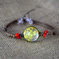 ingrosso braccialetto di fiori secchi-Designer di gioielli in ceramica Crafts Gypsophila fiori secchi commemorativa regalo regalo vintage braccialetto intrecciato le vacanze DHL libera il trasporto