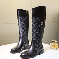çizmeler boyutu 43 bayan toptan satış-Yeni Bayan Moda Ayakkabı Bot Fermuar Düz Topuk Çizmeler Sonbahar Kış Kadın ayakkabı Artı Boyutu 43 Botlar Femmes Kökenli Kutusu ile Lüks Bayan Ayakkabı