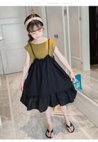 junge modell mädchen kleider großhandel-Explosion Modelle Mode Sommer Mädchen Weste Anzug neue Kinder Ozean Schlinge Kleid Kinder Sommerkleid großer Junge zweiteilig
