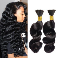 Wholesale natural products for curly hair resale online - 3pcs Human Braiding Hair Bulk A Brazilian Loose Wave Bulk For Braiding Loose Curly Human Braiding Hair Bulk Hair Products