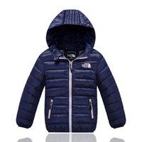 ingrosso giacche ragazze-Piumini per bambini The North Brand Designer Juniors Winter Duck Pad Cappotti NF Outdoor Boy Girls Giacche con cappuccio Face Light Coat C8802