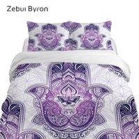 Wholesale purple 3d bedding set for sale - Group buy 3D bed Set Bedding sets King Queen Custom Size duvet cover set purple Hamsa Hand Blanket Quilt Cover Set Drop Ship