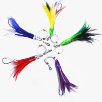 Wholesale tuna trolling soft lures resale online - feather rigs quot cm Feather Trolling Skirt Tuna Lure for Big Game Fishing Rigged Marlin with Stainless Steel Hook