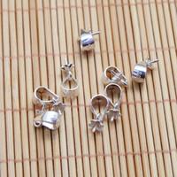 connecteur de capsules achat en gros de-100 pièce en argent sterling brillant avec pince à perle pendentif fermoir à glissière / capuchon de perle / connecteur lumineux sous caution 3 mm platine, 4 mm en argent