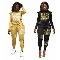 Wholesale black pants outfit women resale online - Women letter lace Tracksuit Spring Autumn Designer Fashion Hoodie Piece Set Top with Pants Black Yellow sport Outfits AAA1992