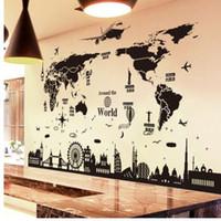 ingrosso decalcomanie da ufficio-[SHIJUEHEZI] World Map Wall Stickers FAI DA TE in stile europeo Edifici Stickers murali per soggiorno Company School Office Decoration