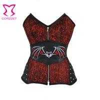 ingrosso rosso corsetto nero burlesque-Red Black Zipper Corsetto Steampunk Corset Sexy Korsett per le donne Batwoman Cosplay Burlesque Costume Halloween Gothic Abbigliamento