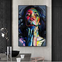 Wholesale pop art home decor canvas resale online - Street Graffiti Wall Art Canvas Prints Abstract Pop Art Girls Watercolor Canvas Paintings on The Wall Pictures for Home Decor