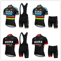 Wholesale BORA Men Summer Clothing cycling Clothes kits short sleeve bib shorts men s Breathable Bib Shorts maillot ciclismo set