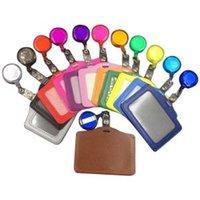 tarjetas de visita materiales al por mayor-Identificación Tarjeta de identificación Insignia de carrete Titular de material escolar Oficina Archivos de tarjetas retráctiles organizador de tarjetas coloridas FFA1619