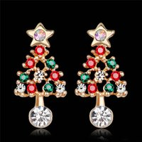 Wholesale kc gold color for sale - Group buy New Delicate Stars Christmas Tree Stud Earrings For Women Fashion KC Gold Color Full Colorful CZ Zircon Earring Xmas Gifts
