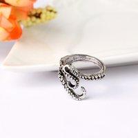 joyas de anillos de pulpo al por mayor-Los hombres anillos de dedo estilo punky calamar pulpo anillo nuevos hombres joyería animal anillo de dedo ajustable abierto para hombre