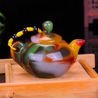 FINE CHINESE COLLECTABLE OLD JADE HANDWORK ARMORED DRAGON LEO TEA POT ORNAMENT