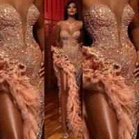 Wholesale white tulle dress blue beading resale online - New Sexy Peach Evening Dresses Wear for Women Mermaid Sweetheart Crystal Beading High Side Split Floor Length Formal Prom Dress Party Gowns