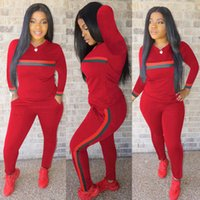 Wholesale slim yoga outfit women for sale - Group buy Women Tracksuit Two Piece Outfits Long Sleeve Sports Suit Daily Lady Striped Print Tracksuit Sport Sweatsuit Plus Size Women Clothing S XL