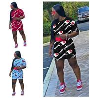 robe t-shirt imprimé achat en gros de-Femmes Champions Lettre D'été D'été 2 Piece Dress Outfit T-shirt À Manches Courtes + Au-dessus Du Genou Jupe Dress Set Marque Survêtement Sportsuit 69