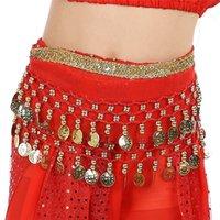 göbek dansı eşarpları toptan satış-Yeni Varış Oryantal Dans Kalça Eşarp Belly Dance Kalça Şifon Etek Eşarp Wrap Kemer Payetler ile Giysi Aksesuarları