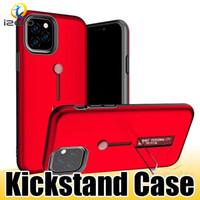 halka tutucu telefon çantası toptan satış-IPhone 11 Pro 11 Pro Max XS MAX Hibrid Halka Tutucu Metal Standı Zırh Telefon Kılıfı Anti-Şok Kickstand Arka Kapak Kabuk
