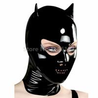 ingrosso maschere piene di fronte sexy-Sexy Latex nero eroe maschera intera Cappuccio con chiusura lampo posteriore Cat Woman Mask personalizzare la dimensione del servizio LM152
