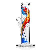 роспуск чаши оптовых-Бонг Прямая трубка с нижним стеклом Водопроводная труба Высота 7,5 дюйма Совместное 14,4 мм Чаша Водопроводные трубы Картина маслом цвет