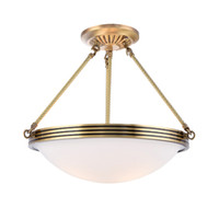 Wholesale gold chinese pendant for sale - Group buy Round copper chandelier simple European dining room bedroom ceiling lamp American balcony kitchen Chinese led lamps