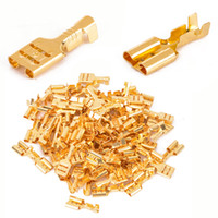 terminais de alto-falante venda por atacado-Terminais de pá de bronze feminino ouro 6.3mm carro Speaker cabo de fio elétrico Connecto