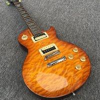 inlays de abalone guitarra elétrica venda por atacado-9-Standard Guitarra Elétrica, corpo de Mogno sólido Com acabamento em Nuvem Marrom Top, captador de Zebra, Abalone embutimento em escala de madeira rosa