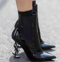 обувь для невесты оптовых-Горячая распродажа весна осень черная лакированная кожа свадебные туфли для невесты роскошные острым носом буквы туфли на высоких каблуках женские сапоги дизайнер