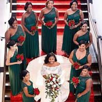 geraffte brautkleider chiffon großhandel-2019 New African Hunter Günstige Brautjungfernkleider One Shoulder schiere Spitze geraffte Chiffon Hochzeit Party Kleider Formale Kleider Trauzeugin Kleid