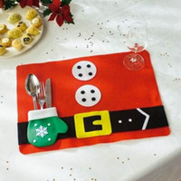 Wholesale red table mats for sale - Group buy 2 Christmas Gloves Christmas Santa Claus Placemats Mat Dinner Table Decor Christmas Table Mat Set Decorations