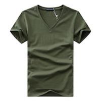 ingrosso shirt in vendita-Maglietta del V-collo degli uomini di estate 2019 Maglietta adatta del bicchierino del manicotto del bicchierino del manicotto della maglietta casuale di modo della maglietta di nuovo modo solido del cotone per le vendite all'ingrosso