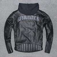 3xl велосипедная куртка оптовых-АФФИЛИАЦИЯ Трикотажные изделия Harley Cycling Мужская мотоциклетная куртка с банкой с капюшоном Добавить защитные приспособления слой натуральной кожи