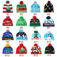 Wholesale crochet christmas decor for sale - Group buy 16 Led Christmas Knitted Hats Winter Warm Beanies Crochet Caps For Pumpkin snowmen Festival party decor gift MMA285